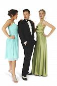 stock photo of party people  - Group of friends in formal wear - JPG
