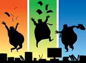 foto of pot-bellied  - Three jumping fat businessmans - JPG