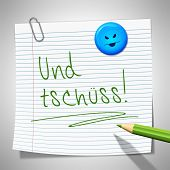 stock photo of bye  - A sticky paper with the message bye bye in german language - JPG