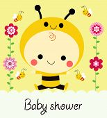 stock photo of bumble bee  - Vector illustration of a cute baby shower card with baby dressed as a bee - JPG