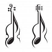 picture of violin  - monochrome illustration of violin - JPG