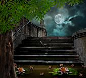 pic of moonlit  - Old stone staircase in celebration of Halloween on background of moonlit night - JPG