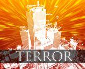 picture of extremist  - Terrorist terror attack Al Queda terrorism bombing concept illustration - JPG