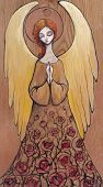 picture of wood craft  - Beautiful angel with water drops painted on a wood - JPG