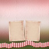 picture of christening  - Festive invitation or congratulations for a wedding christening with pink beautiful pearls - JPG