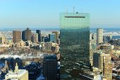 stock photo of prudential center  - Boston John Hancock Tower and Back Bay Skyline in winter - JPG
