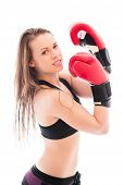 picture of cheeky  - Portrait of cheeky young woman wearing like a boxer. Isolated on white