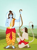 image of navratri  - Hindu mythological Lord Rama giving blessings and Hanuman on nature background for Happy Diwali celebrations concept - JPG