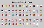 picture of continent  - European Continent countries flags vector - JPG