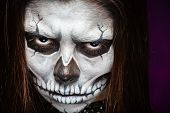 image of day dead skull  - Young woman in day of the dead mask skull face art - JPG