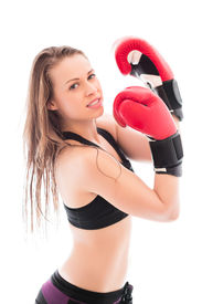 image of cheeky  - Portrait of cheeky young woman wearing like a boxer. Isolated on white ** Note: Soft Focus at 100%, best at smaller sizes - JPG