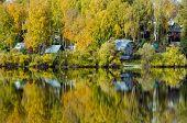 stock photo of siberia  - Forest lake in sunny aurumn day in Siberia  - JPG