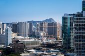 foto of waikiki  - View over Waikiki showing new condos under construction as the city of Honolulu expands on Oahu Hawaii - JPG