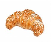 image of croissant  - One fresh croissant isolated on white background - JPG