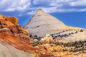Постер, плакат: Capitol Dome Navajo White Sandstone Mountain Capitol Reef National Park Torrey Utah
