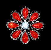 stock photo of brooch  - Vintage silver brooch with rubies and diamonds - JPG