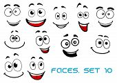 stock photo of caricatures  - Happy and joyful emotions on cartoon smiling faces for humor caricature or comic design - JPG