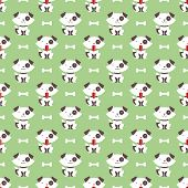 stock photo of rabies  - Seamless pattern with dog and bone vector background - JPG