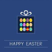 foto of dash  - Colored Easter egg set dash line giftbox Card Flat design Vector Illustration - JPG