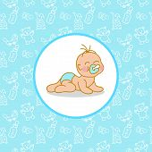 stock photo of teats  - Toddler Greeting Card Template with yoys background pattern - JPG