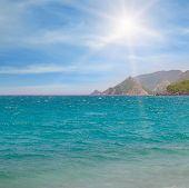 foto of sea-scape  - sea scape blue sky and mountainous coast - JPG