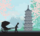 pic of rickshaw  - Chinese rickshaw on Asian landscape  - JPG