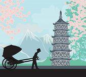 stock photo of rickshaw  - Chinese rickshaw on Asian landscape  - JPG