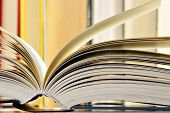picture of hardcover book  - Composition with hardcover books in the library - JPG