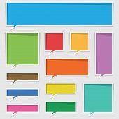 stock photo of text-box  - set of blank speech text boxes twelve variations - JPG