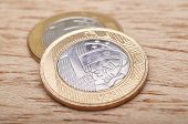 picture of brazilian money  - Money coins Brazilian in wooden table currency - JPG