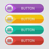 foto of barcode  - Vector flat buttons with barcode icon - JPG