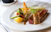 image of gourmet food  - Delicious and beautiful gourmet food on dish - JPG
