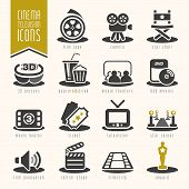 Постер, плакат: Movie and cinema industry icon set