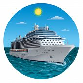 image of passenger ship  - illustration of the passenger cruise ship in the sea - JPG