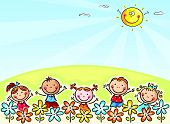 pic of drawing  - Happy cartoons kids outdoors - JPG