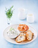 picture of baguette  - Soft cheese spread smoked wild salmon and baguette selective focus - JPG