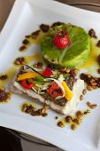 stock photo of cod  - Cod fillet vegetables peppers and cabbage cake  - JPG