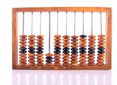 picture of subtraction  - Wooden Accounts with the Reflection Placed Horizontally on White - JPG