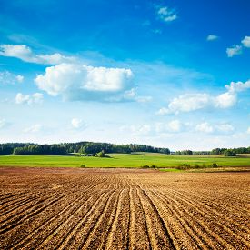 image of farm landscape  - Spring Landscape with Plowed Field on the Background of Beautiful Clouds and Blue Sky - JPG