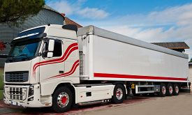 pic of tank truck  - truck with long trailer trucking and logistics - JPG