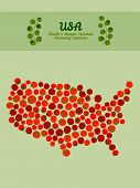 stock photo of usa map  - Map of USA made out of red tomatoes - JPG