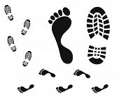 picture of footprint  - Isolated footprints on white background - JPG