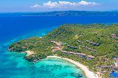 pic of deserted island  - aerial view of Boracay island - JPG