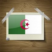 foto of algeria  - Flags of Algeria at frame on wooden texture - JPG