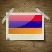 pic of armenia  - Flags of Armenia at frame on wooden texture - JPG