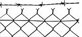 image of barbed wire fence  - vector of wired fence with barbed wires on white background - JPG