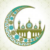picture of crescent  - Beautiful floral design decorated crescent moon with creative mosque on stylish background for famous festival of Muslim community - JPG