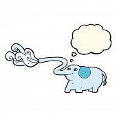 foto of squirting  - cartoon elephant squirting water with thought bubble - JPG