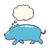 stock photo of hippopotamus  - cartoon hippopotamus with thought bubble - JPG