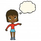 image of waving hands  - cartoon woman waving hand with thought bubble - JPG
